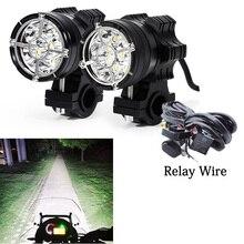 Led moto rcycle פנס 6/9 חרוזים moto led מנורות עבור BMW R1200GS F800 F700GS מול סוגריים moto rbike ערפל עובר אור
