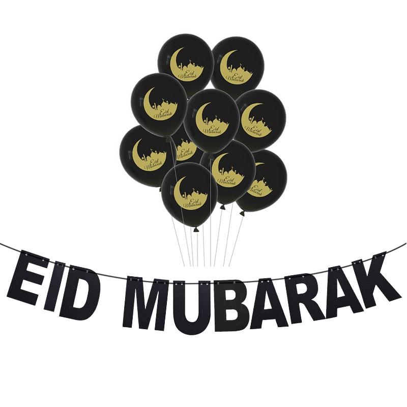 Image 2 - Eid Mubarak Decoration EID MUBARAK Balloons Banner Gift Stickers  Muslim Festival Cake Topper Ramadan Kareem Islamic SuppliesParty DIY  Decorations