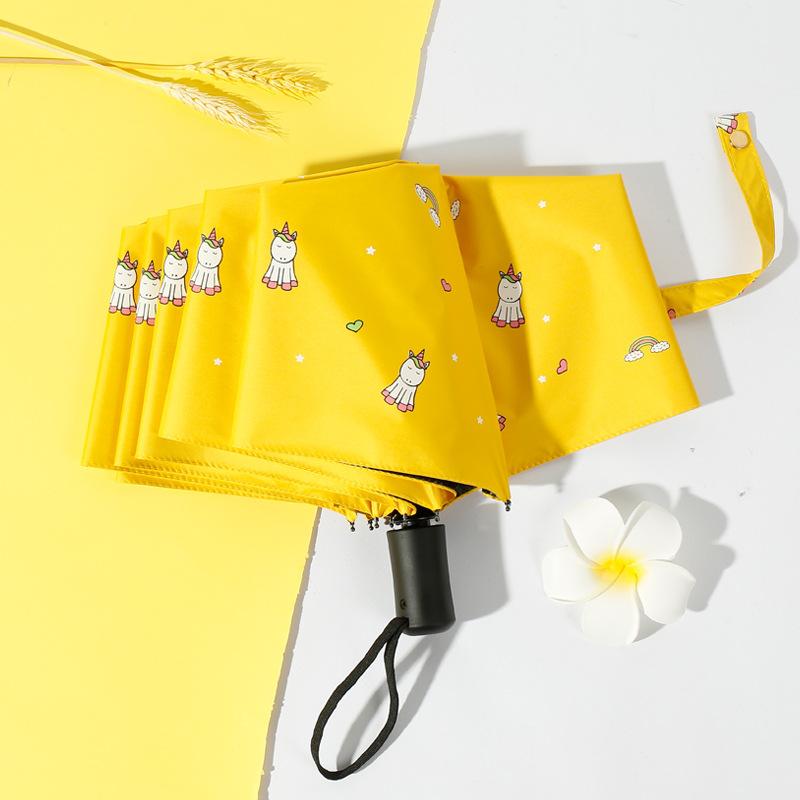 Unicorn Fully Automatic Umbrella Three Fold Vinyl Sun-resistant Parasol UV-Protection Parasol Customizable Advertising Umbrella