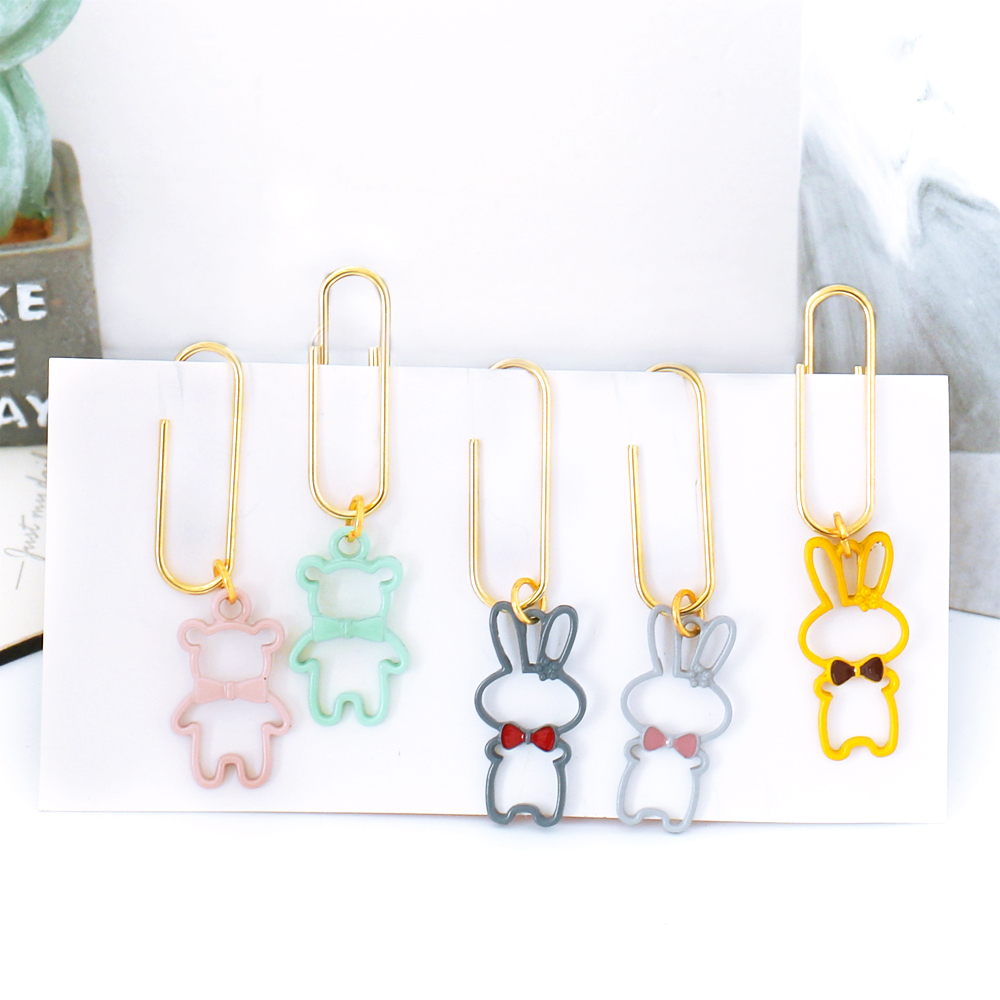 TUTU 5pcs/lot Original Creative Suquin Candy Office School Metal Index Bear Rabbit Paper Clips Stationery Supplie H0370