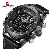NAVIFORCE-relojes deportivos para hombre, pulsera de cuarzo Digital de lujo con pantalla Dual militar, banda de cuero, resistente al agua, despertador