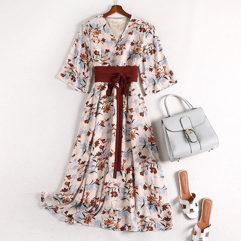 Lan Mu Square Large Size Dress Large GIRL'S Size Immortal Waist Hugging Retro Chinese-style Floral-Print Chiffon Dress 10577