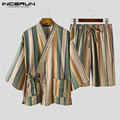 INCERUN Men Vintage Striped Pajama Sets 3/4 Sleeve Lace Up Tops Drawstring Shorts 2 Pieces Man Retro Kimono Homewear Suits S-5XL
