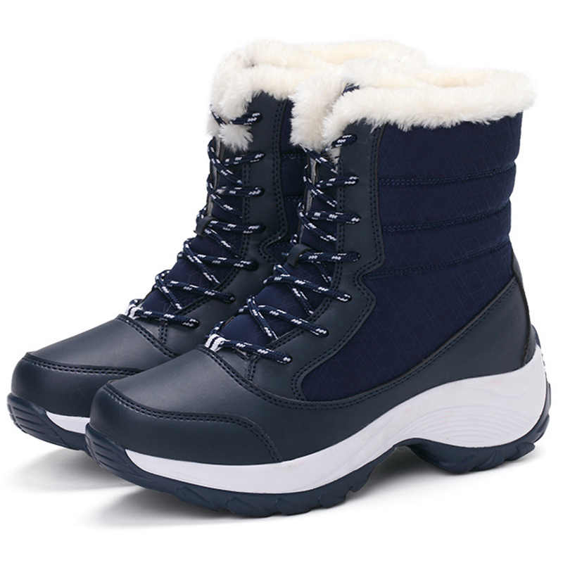 Kadın çizmeler kadın ayakkabıları 2019 Kadın Kar Botları Moda Dantel Up Kış Ayakkabı Kadın Kış Sıcak Platform yarım çizmeler Kadın