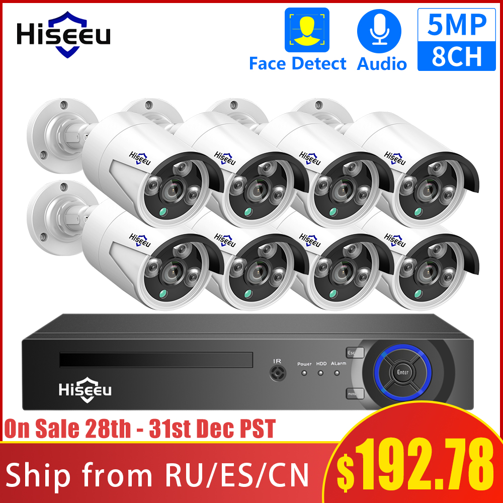 Hiseeu H.265 8CH 5MP POE Security Camera System Kit AI Face Detection Audio Record IP Camera IR CCTV Video Surveillance NVR Set