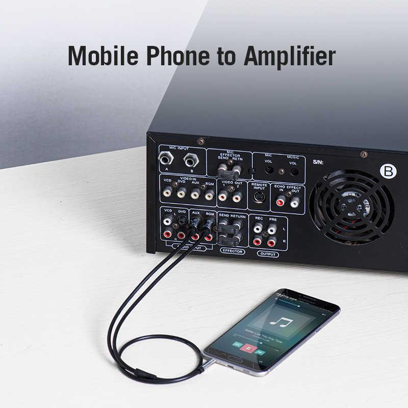 Cabo rca 3.5 para rca jack 2 rca para aux 3.5mm cabo estéreo de áudio para smartphone amplificador de cinema em casa dvd rca cabo aux