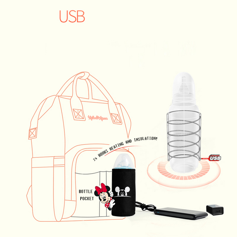 Image 5 - Disney Mickey Minnie Travel Diaper Bag Bolsa Maternidade Waterproof Stroller Bag USB Baby Bottle Warmer Mummy Backpack Nappy Bag-in Diaper Bags from Mother & Kids