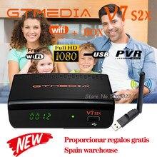 Receptor gtmedia v7 s2x com usb wi-fi livre h.265 digital DVB-s2 receptor de satélite 1080p gtmedia v7s2x atualização gtmeida v7s hd