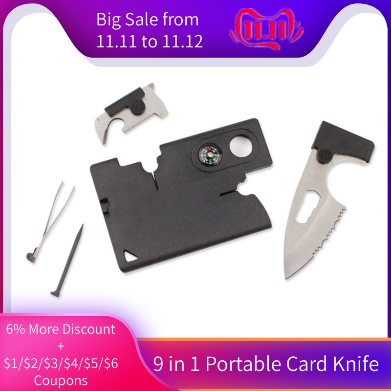 2019 Wholesale 9 In 1 Portable Durable Card Knife Tactical EDC Tool Outdoor Sports Camping Survival Self-defense Equipment