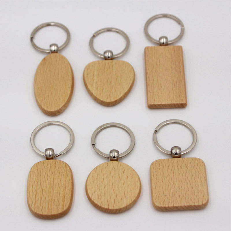 Hot 20PCS/Lot DIY Customized Blank Wooden Keychain Wood Cabochon DIY Keychain Base Trays With Metal Buckle For Keyring Tag