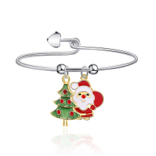 Fashion Alloy Cute Compact New Christmas Theme Bracelet Christmas Tree Santa Claus Pendant Bracelet For Women's Accessories new alloy gorgeous fashion christmas theme snowman cane santa claus color pendant bracelet bracelet christmas best gift jewelry