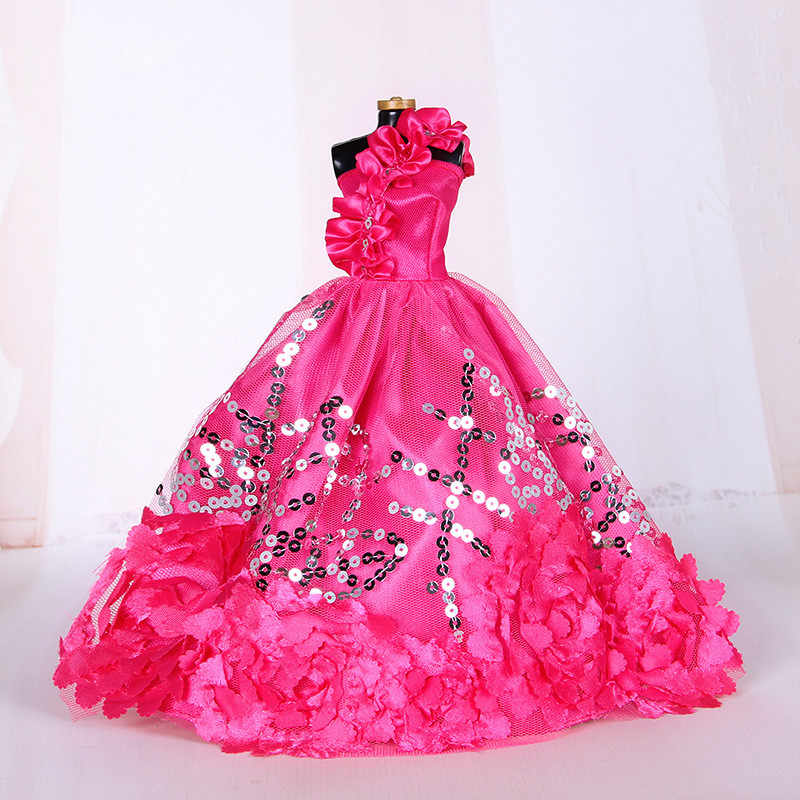 White Elegant Handmade Wedding princess Dress For 1/6 Doll Floral Doll Dress Clothes Clothing Multi Layers Dolls Accessories