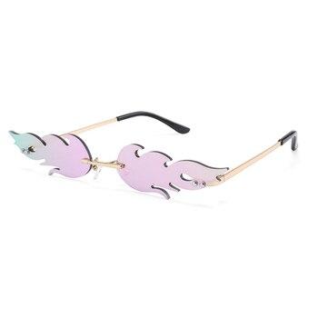 Fashion Fire Flame Womens Cat Eye Sunglasses Men Rimless Brand Designer Vintage Metal Sun Glasses UV400 Luxury Trend Eyeglasses