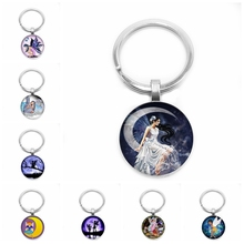 2019 New Hot Selling Dark Angel Wings Fairy Round Glass Pattern Key Ring Keychain Cabochon Gift Ornament