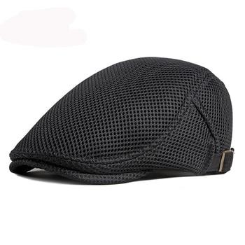 HT3015 Beret Breathable Spring Summer Mesh Cap Men Women Sun Hat Adjusted Ivy Newsboy Flat Cap Beret Hat Cabbie Driver Beret Cap недорого
