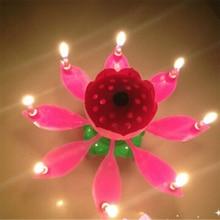 Инновационные вечерние свечи для торта, музыкальные вращающиеся свечи в форме цветка лотоса с днем рождения, светильник вечерние подарки д...