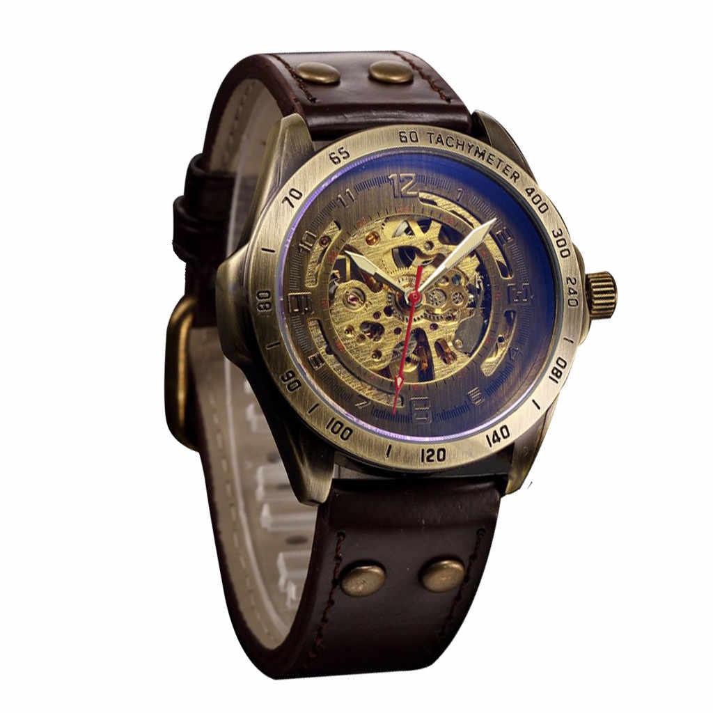 الهيكل العظمي ساعة الموضة الجوف Steampunk ساعة الرجال الجلود الرجعية الرجال التلقائي الميكانيكية ساعة الرجال الساعات