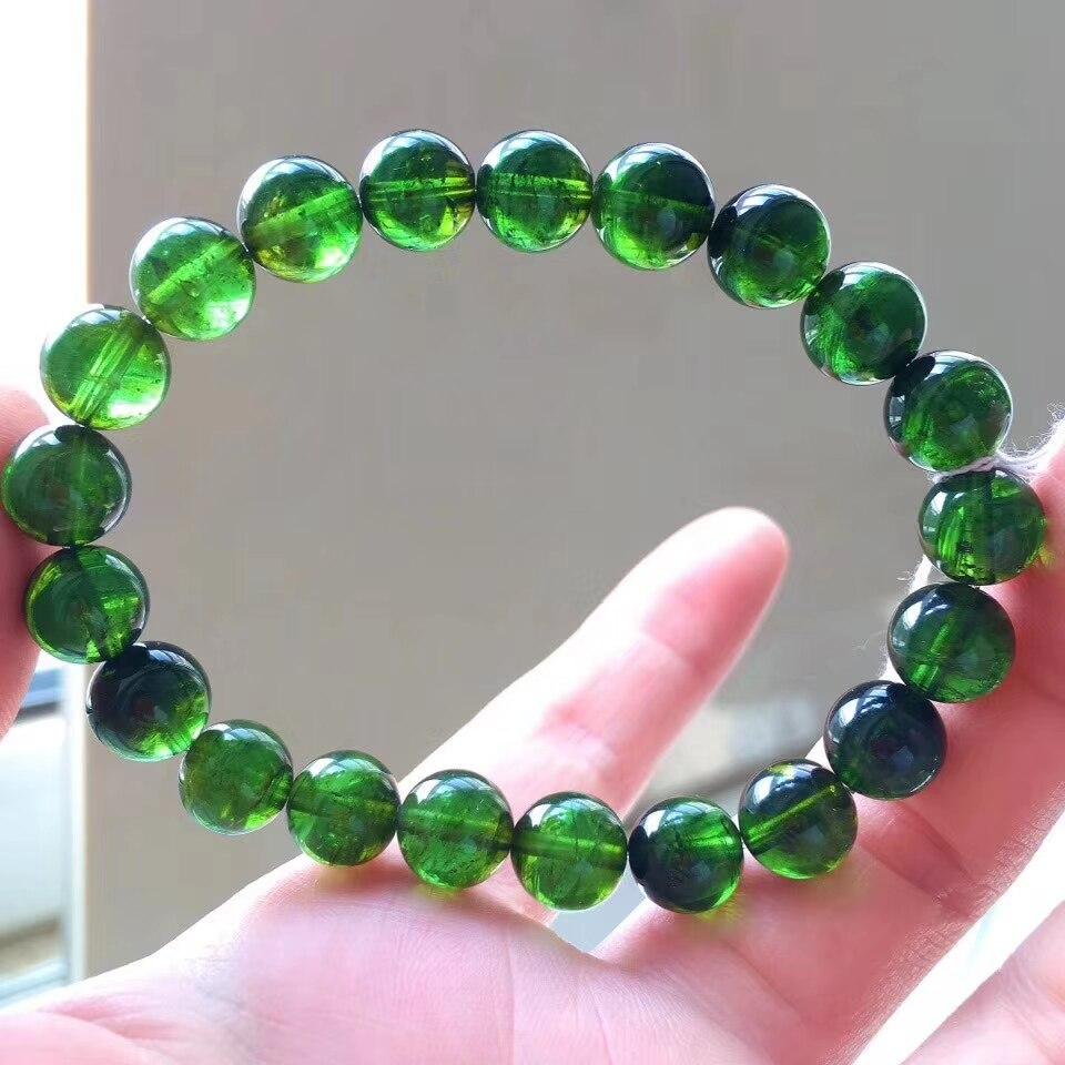 9mm véritable naturel vert Tourmaline cristal clair perles rondes Bracelet mode femme collier Stretch certificat AAAAA