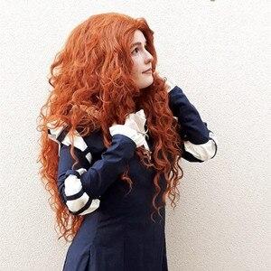 Image 2 - Ebingoo Merida Pruik Oranje Pruik Tinker Bell Princress Belle Ariel Rapunzel Pruik Bruin Rood Blonde Lange Synthetische Cosplay Vrouwen Pruik