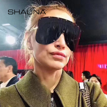 SHAUNA Oversize One Piece Cover men sunglasses steampunk Women Five-Points Star glasses punk Champagne Windproof Shades Men