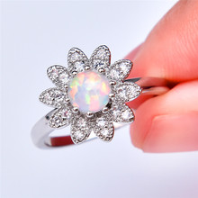 boho female blue opal stone ring dainty round crystal silver wedding rings for women cute bridal love heart engagement ring Boho Female White Round Opal Ring Dainty Crystal Flower Wedding Rings For Women Trendy Bridal Silver Engagement Ring