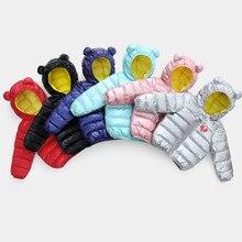 Модная верхняя одежда для малышей, пальто для мальчиков и девочек, теплое ветрозащитное пальто с капюшоном и ушками из мультфильма «Медведь» Детская пуховая куртка с хлопковой подкладкой