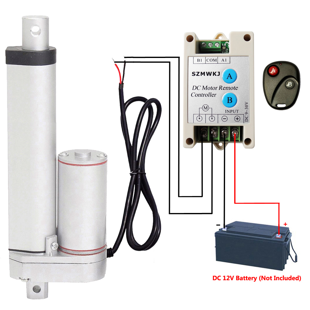 "Set of 2 Linear Actuators 6/"" Stroke 330lbs 12V Motor /& Wireless Control Kits IG"