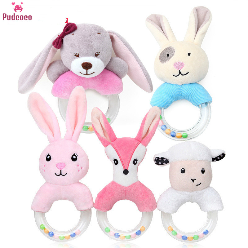Pudcoco Animal Toddler Baby Rattles Toy Cartoon Rabbit Sheep Fox Plush Hand Ring Bed Toys Newborn Educational Toy Mobiles Bells