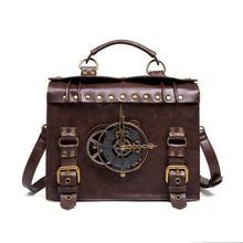 Norbinus Steampunk tek omuz çantaları Vintage kadınlar çanta gotik Messenger Crossbody çanta bayanlar perçin en saplı çanta paketi