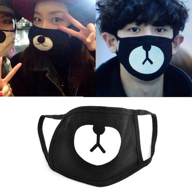 Cotton Mouth Face Mask Unisex Korean Kpop EXO Chanyeol Same Style Chan yeol Lucky Bear Black Mouth Mask Face Respirator