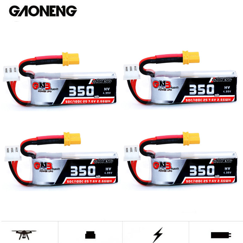 4PCS Gaoneng GNB 2S 7.6V 350mAh HV 4.35V 50C/100C Lipo Battery XT30 For Beta75X RC Cine Whoop BetaFPV Drone FPV Racing Cine