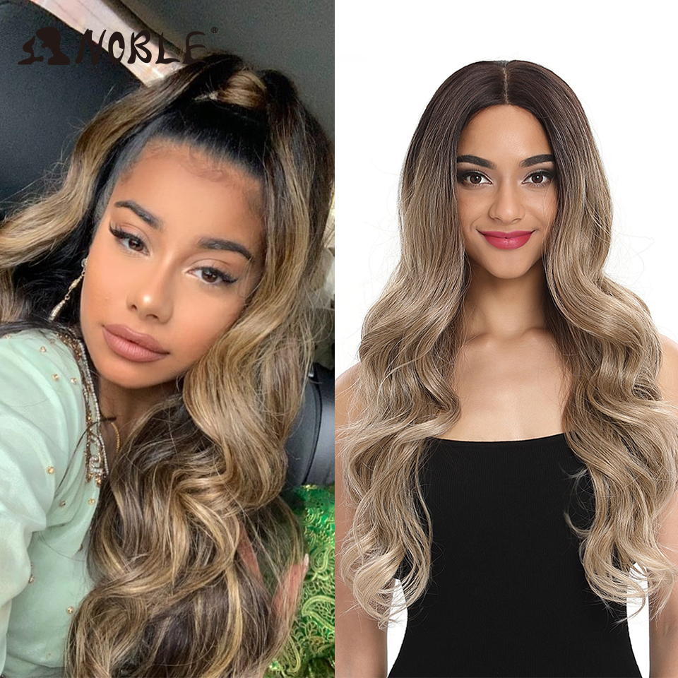 Noble Cosplay Lace Front Wig 30 Inch Lace  Long Wavy 360 0mbre Blonde Wig Red African American Synthetic Wigs For Black Women