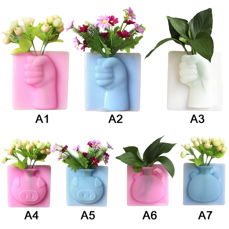 New Silicone Sticky Flower Vase Stick on The Wall Bathroom Container Pot Decoration Home
