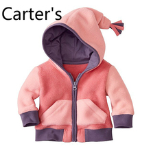 Carter's Baby children clothing wholesale boys and girls fall/winter polar fleece cardigan hooded jacket one-piece color matchin
