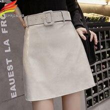 High Quality PU Leather Skirt With Belt 2019 Autumn Winter New Arrivals Beige Green Black A Line Mini Women Hot Sale