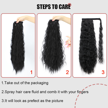 Vigorous Corn Wavy Long Ponytail Synthetic Hairpiece Wrap on Clip Hair Extensions Ombre Brown Pony Tail Blonde Fack Hair 5