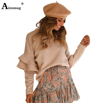 Streetwear Knitwear Ruffled Pleated Long Sleeve stitching  Loose Round Neck Tops 2019 New Autumn Elegant Women's Pullovers 2019 autumn new european and american women s personality stitching ruffled long sleeved round neck slim bag hip dress
