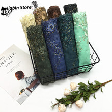 цена 1PC NEW embroidery flower hijab sparkling fashion muslim scarfs shiny women scarves shawls brand muffler luxury islamic hijabs онлайн в 2017 году