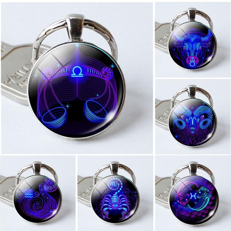 NEW 12 Constellation Keyring Gemini  Leo Scorpio Cancer Sign Pendant Holder Keychain Libra Key Jewelry Women Men Birthday Gift