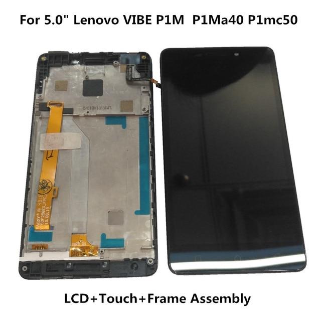 "Orijinal 5.0 ""Lenovo VIBE P1M P1Ma40 P1mc50 LCD ekran + dokunmatik ekran Digitizer meclisi için P1Ma40 P1mc50 LCD çerçeve ile"