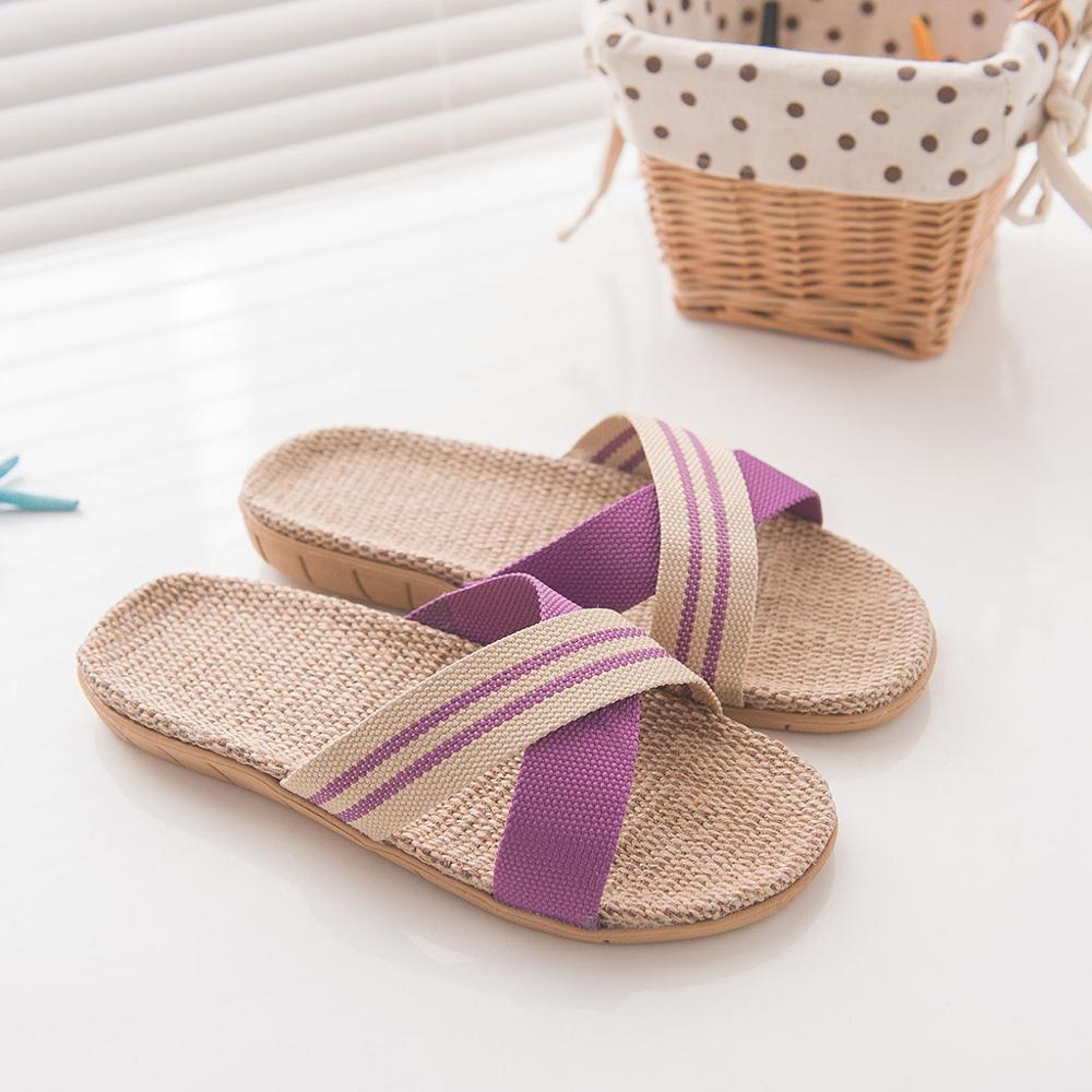 Обувь мужские Нескользящие льняные тапки для дома помещений с открытым носком на плоской подошве пляжные летние шлепанцы повседневные льняные шлепанцы zapatos de hombre - Цвет: Фиолетовый