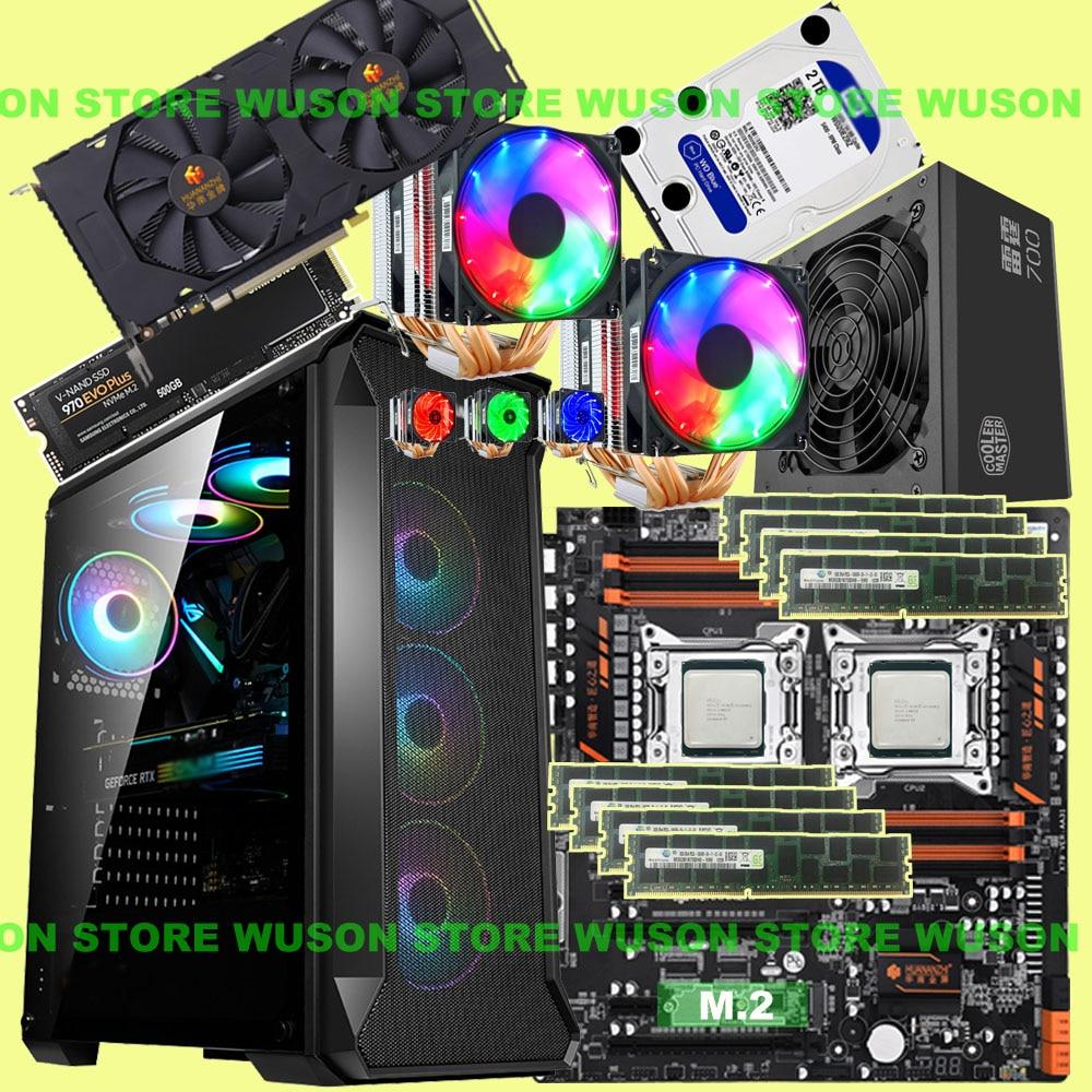 HUANANZHI Dual X79-8D Motherboard 500G NVMe SSD Xeon CPU E5 2680 V2 Dual Cooler RAM 128G(8*16G) 1866 RECC 600W PSU GTX1660 6GD6