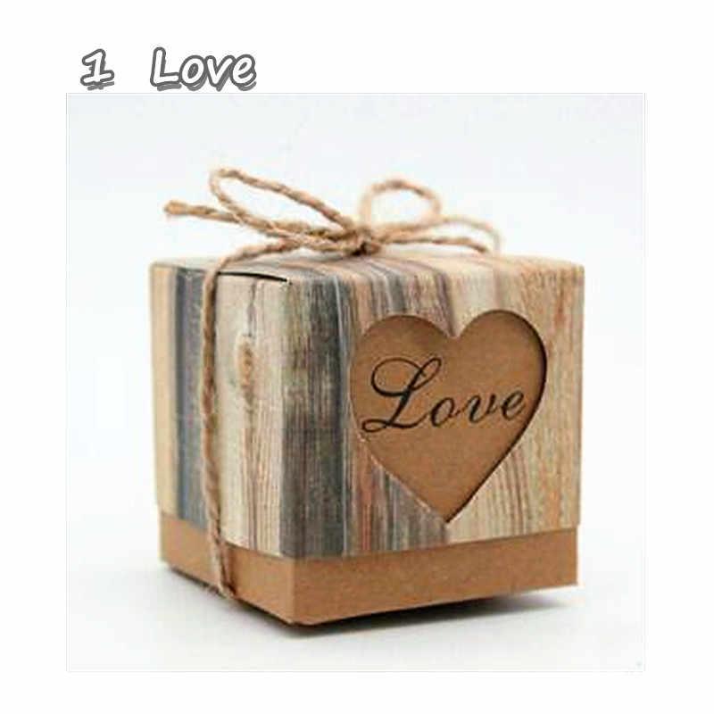 Saco de presente para casamento, saco de presente de casamento romântico com corações em papel de doces, suprimentos para festas, 1 peça/conjunto
