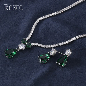 Image 4 - RAKOL New Fashion Luxury AAA Zircon Water Drop Shape Necklace Earrings jewelry Set for Women Party wedding Dress Accessories