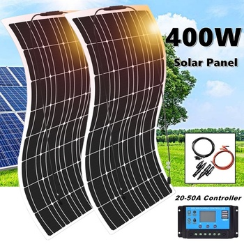 400W 2*200W Flexible Monocrystalline Solar Panel Kit Famous China Solar Panel For Car RV Boat Home Proof 12V Battery Charger flexible solar panel plate 12v 5v 10w 20w 30w solar charger for car battery 12v 5v phone battery sunpower monocrystalline cells