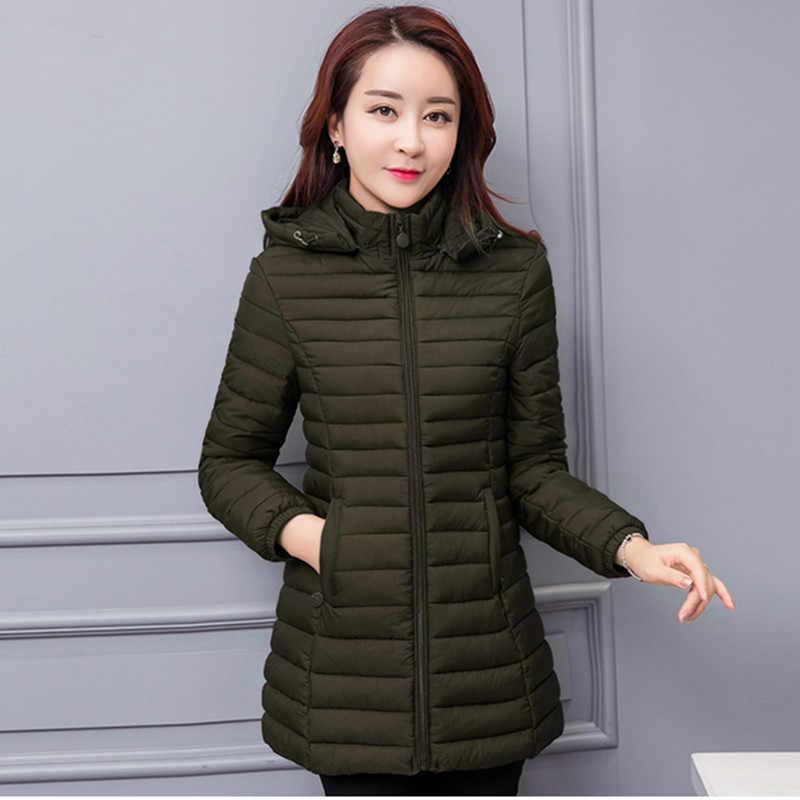 Mulheres com capuz inverno quente casaco Fino Plus Size 6XL cor Sólida mulher básica jaqueta de algodão acolchoado jaqueta de médio-longo feminina AB123