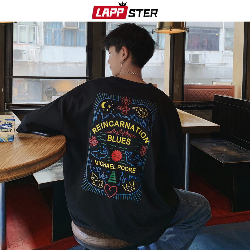 LAPPSTER Men Japanese Streetwear Graphic T Shirts 2020 Summer Mens Harajuku Hip Hop T-shirts Korean Tees Casual Tops Plus Size
