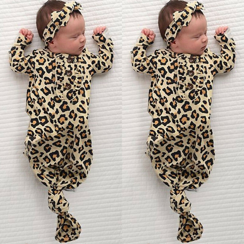 Newborn Baby Leopard Swaddle Wrap Swaddling Sleeping Bag Blanket Headband Set