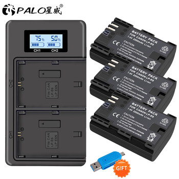 PALO 3pc LP-E6 LP-E6N LP E6 LPE6 Battery+LCD USB Dual Charger for Canon EOS 6D 7D 5D Mark II III IV 60D 60Da 70D 80D 5DS R XC10