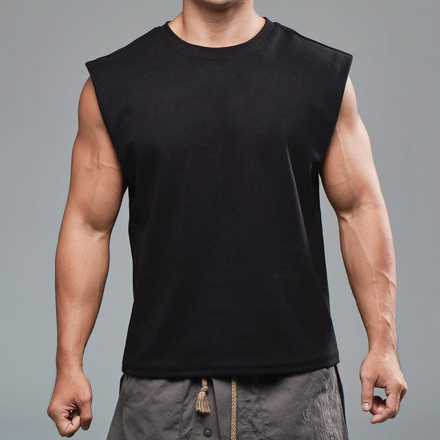 Men Tank Top Broad Shoulder Vest Casual Loose  Mens Crop Top Workout  Exercise Clothing Sleeveless Shirt 4
